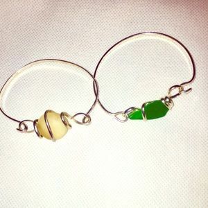 Set of Sea Glass bangle bracelets in Green & White